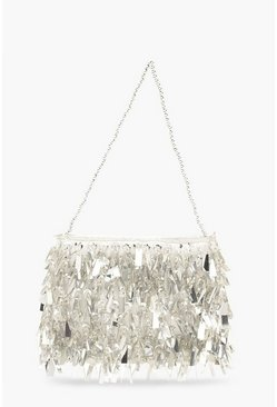 Womens Silver Sequin & Bead Embellished Grab Bag