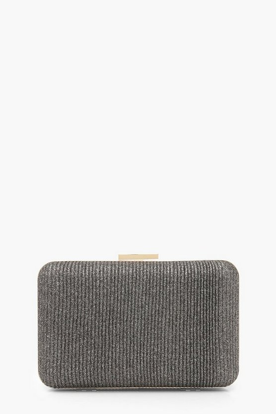 Black Velvet Ribbed Glitter Box Clutch Bag & Chain