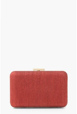 Red Velvet Ribbed Glitter Box Clutch Bag & Chain