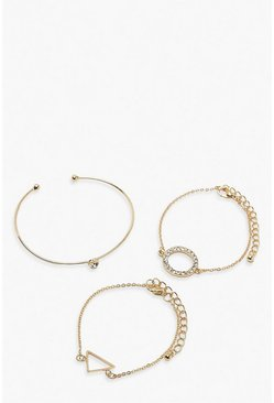 Gold Shape Stackable Bracelet Pack