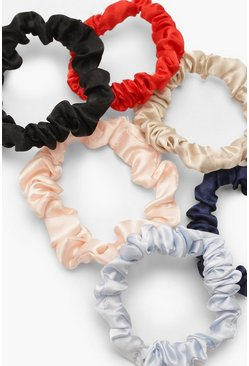 Multi Ruched Satin Scrunchie 6 Pack