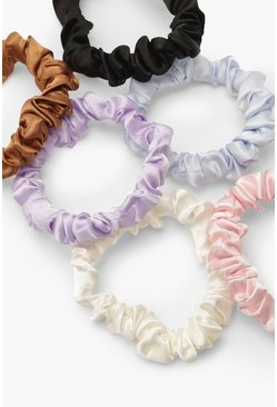 Lot de 6 chouchous en satin froncé, Multi