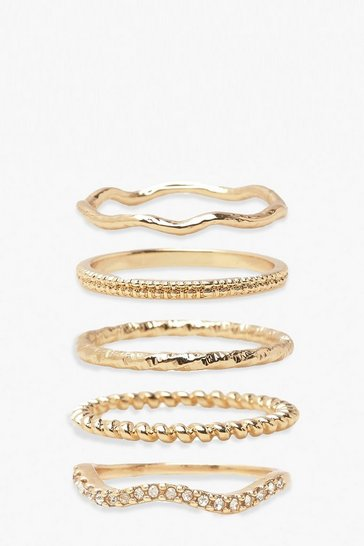 Gold Textured Stackable Ring Pack