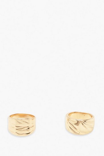 Gold Textured Metal Chunky Ring 2 Pack