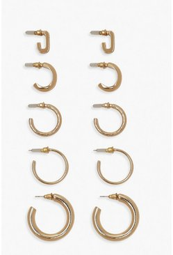 Gold Mixed Shape Hoop Earring 5 Pack
