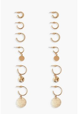 Gold Textured & Pendant Hoop Earring 6 Pack