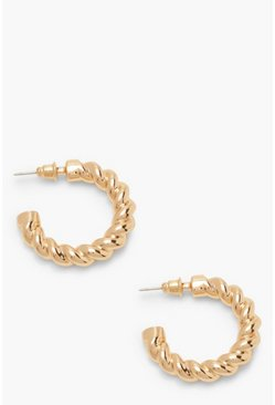 Gold Twisted Chunky Hoop Earrings