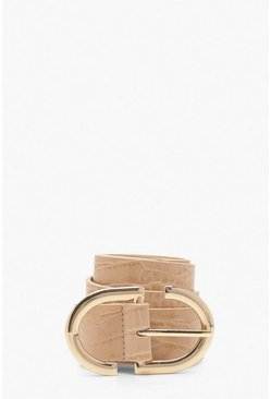 Beige Metal Trim Patent Croc Buckle Belt