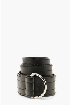 Black Faux Leather D-Ring Tape Belt