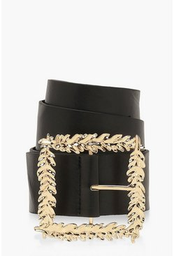 Black Square Leaf Buckle Belt