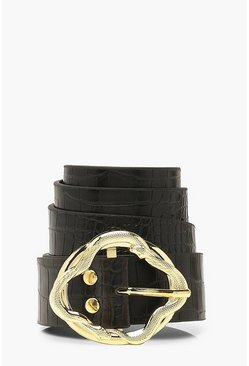 Black Hammered Gold Swirl Croc PU Buckle Belt