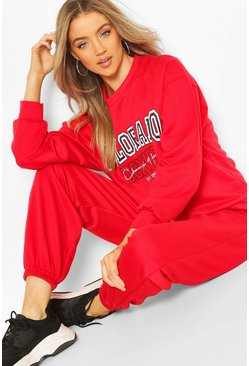 Red Colorado Denver Oversized Sweater Tracksuit