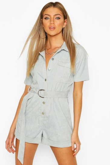 Baby blue Cord Utility Playsuit
