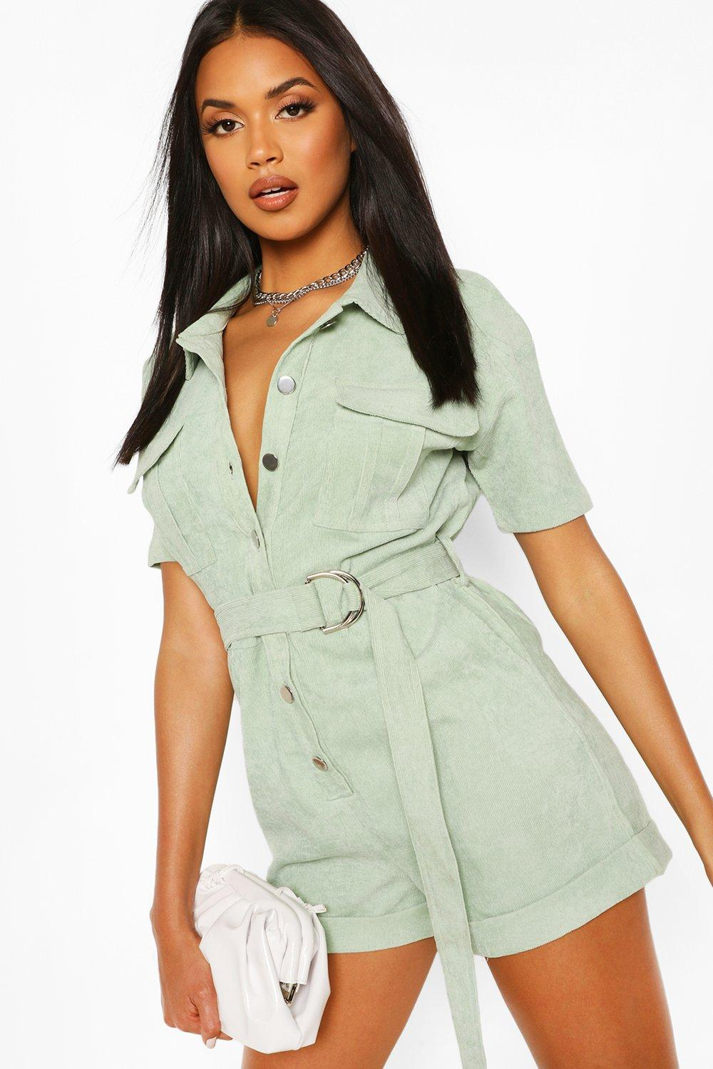 70s Clothes | Hippie Clothes & Outfits Womens Cord Utility Romper - Green - 12 $18.00 AT vintagedancer.com