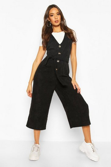 Black Cord Button Front Culotte Pinafore Jumpsuit