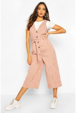 Nude Cord Button Front Culotte Pinafore Jumpsuit