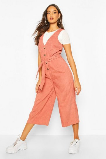 Terracotta Cord Button Front Culotte Pinafore Jumpsuit