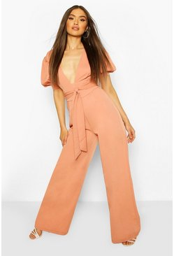 Terracotta Puff Sleeve Self Belt Wide Leg Jumpsuit