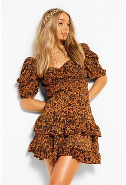 Rust Floral Printed Tiered Mini Skirt
