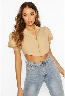 Camel Corset Shape Puff Sleeve Shirt