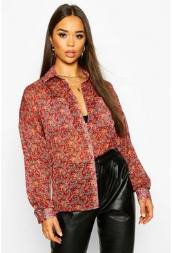 Berry Paisley Metallic Stripe Shirt