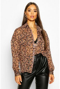 Black Paisley Metallic Stripe Shirt