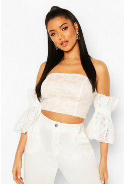 White Embroidered Mesh Off The Shoulder Top