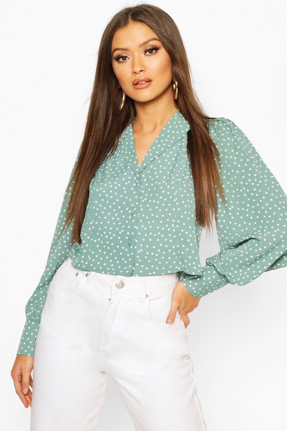 1930s Style Blouses, Shirts, Tops | Vintage Blouses Womens Woven Polka Dot Sleeve Blouse - green - 12 $37.00 AT vintagedancer.com