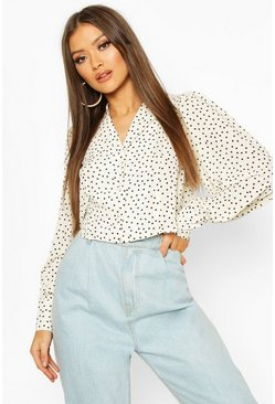 White Woven Polka Dot Sleeve Blouse