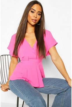 Pink Woven Cap Sleeve Pleat Detail Peplum Top
