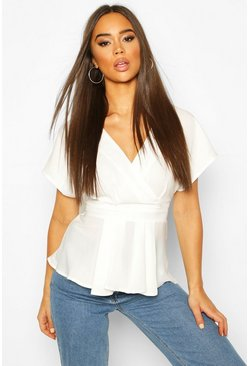 White Woven Cap Sleeve Pleat Detail Peplum Top