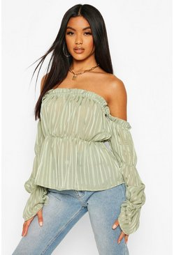 Sage Satin Stripe Off The Shoulder Top