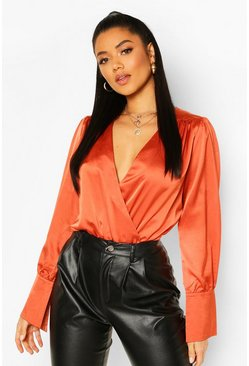 Terracotta Satin Oversized Cuff Bodysuit