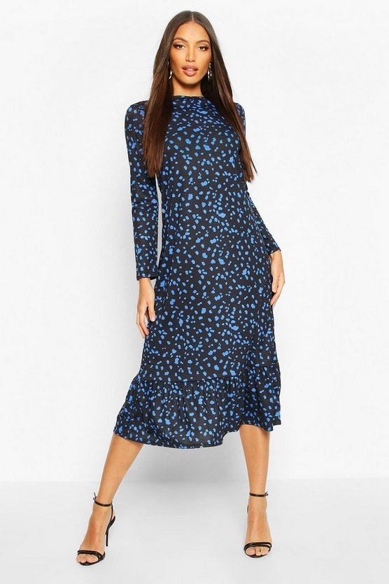 Black Ruffle Hem Splodge Print Midaxi Dress