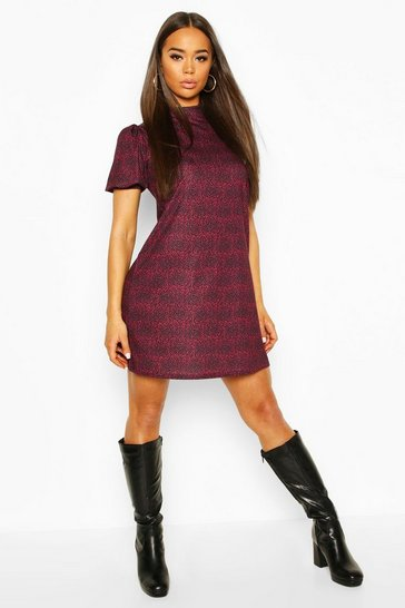 Berry Printed Funnel Neck Puff Sleeve Shift Dress