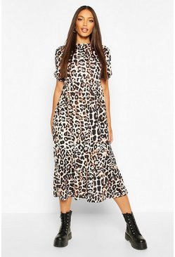 Natural Leopard Tierred Midaxi Dress
