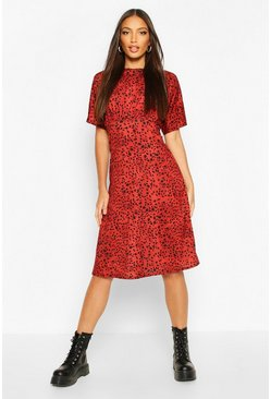 Rust Batwing Dalmatian Print Midi Dress