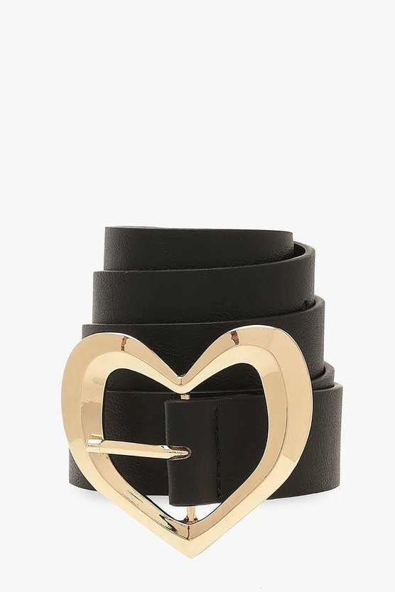 Black Gold Metal Trim Heart Buckle Belt