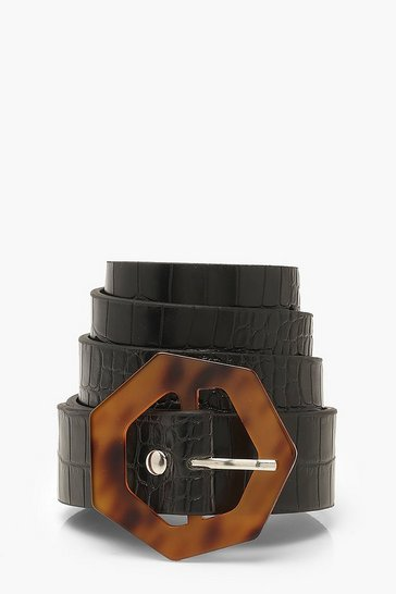 Black Tort Hexagon Croc PU Belt