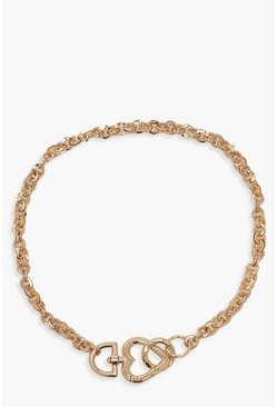Gold Heart Detail Chunky Chain Choker