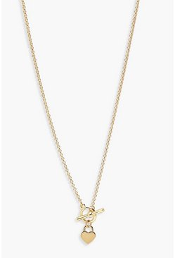 Gold T-Bar & Heart Necklace