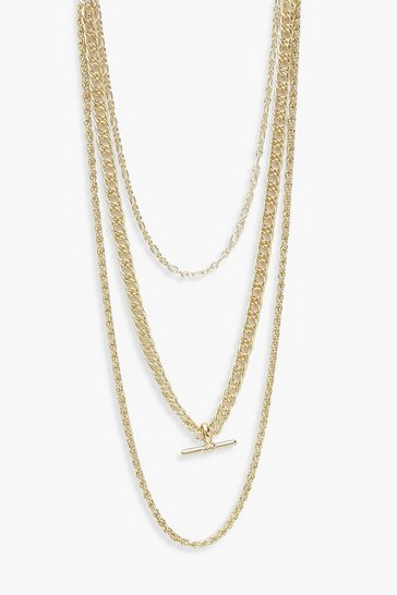 Gold T-Bar Necklace 3 Pack