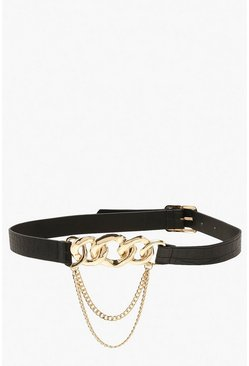 Black Triple Chain Waist Belt