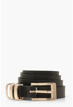 Black Triple Gold Trim PU Buckle Belt