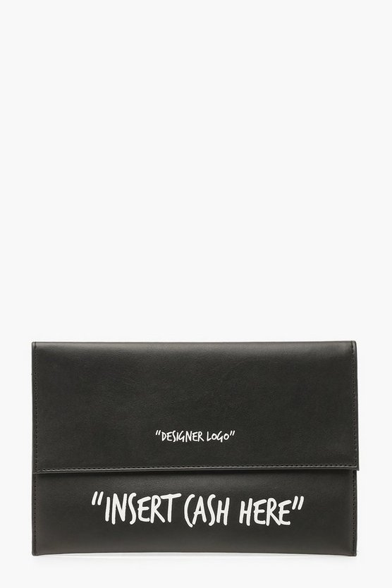 Black Insert Cash Here Slogan Clutch Bag