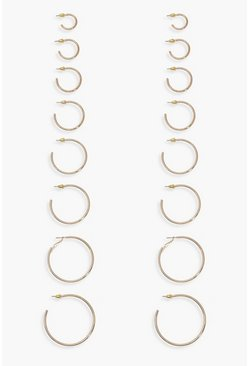 Gold Mixed Size Hoop Earring 8 Pack