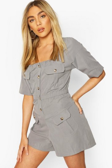 Blue Pocket Detail Utility Playsuit