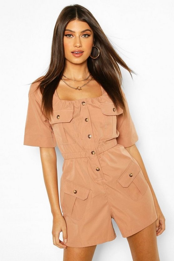 Rose Pocket Detail Utility Playsuit