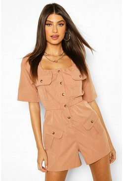 Rose Pocket Detail Utility Romper