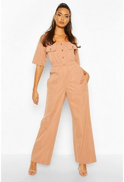 Rose Pocket Detail Utility Wide Leg Jumpsuit